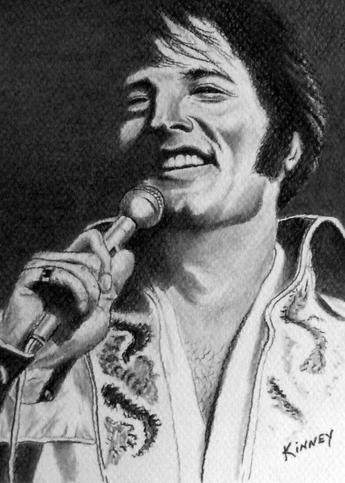 Celebrity Greeting Card featuring the drawing Elvis No. 8 by Jay Kinney