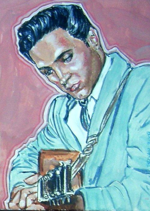 Elvis Presley Greeting Card featuring the painting Elvis Presley by Bryan Bustard