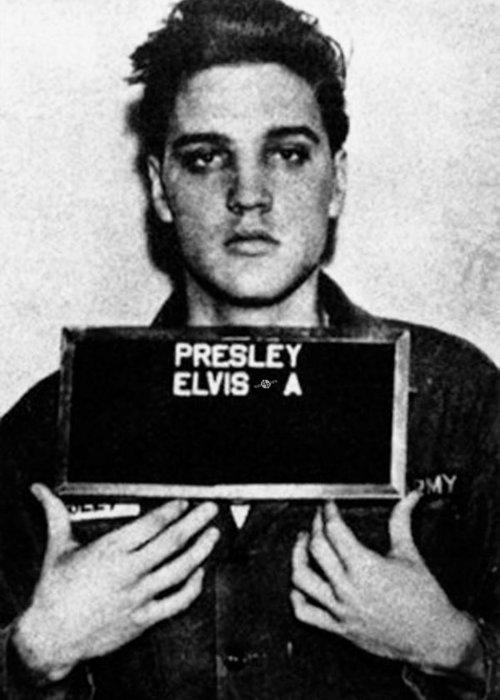 Elvis Presley Greeting Card featuring the painting Elvis Presley Mug Shot Vertical 1 by Tony Rubino