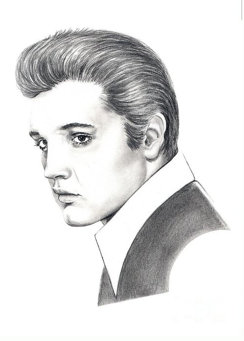 Pencil. Portrait Greeting Card featuring the drawing Elvis Presley by Murphy Elliott
