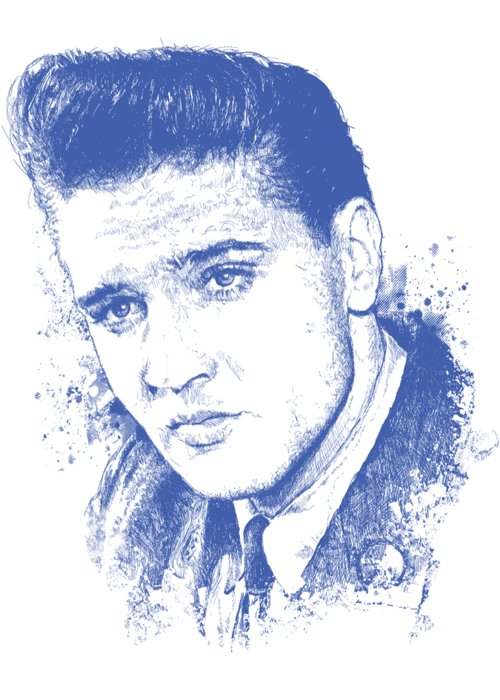 Chadlonius Greeting Card featuring the digital art Elvis Presley Portrait by Chad Lonius