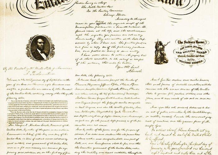 Emancipation Proclamation Greeting Card featuring the photograph Emancipation Proclamation by Photo Researchers