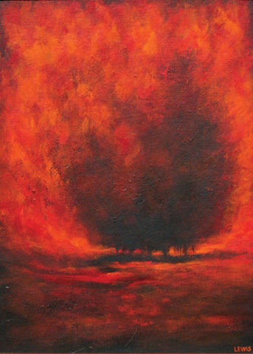 Red Greeting Card featuring the painting Ember by Ellen Lewis