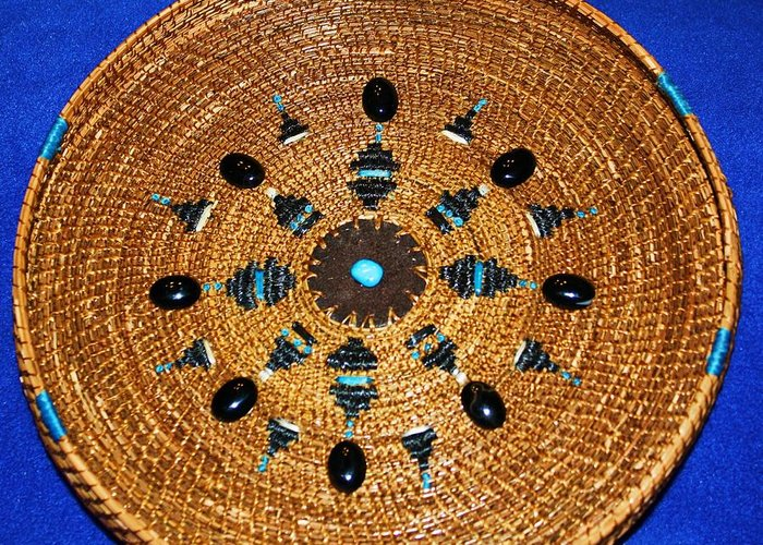 Pine Needle Basket Greeting Card featuring the mixed media Embroidered Gem Stone Plate by Russell Barton