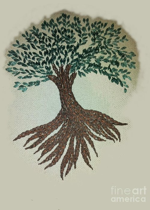 Tree Treeoflife Handembroidered Embroidery Greeting Card featuring the tapestry - textile Embroidered Tree by Jackie Hyder