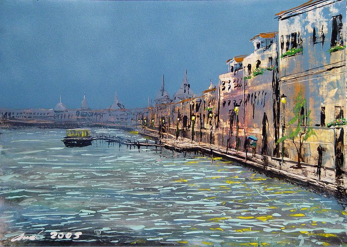 Embrumado Greeting Card featuring the painting Embrumado Venice by Angel Ortiz