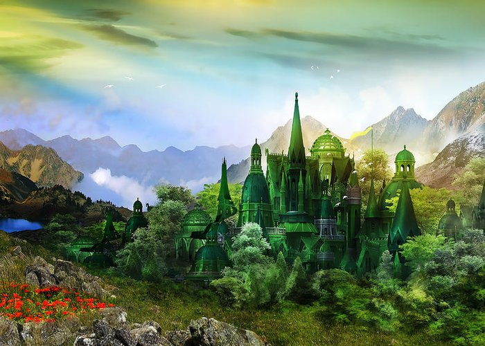 Landscape Greeting Card featuring the digital art Emerald City by Mary Hood