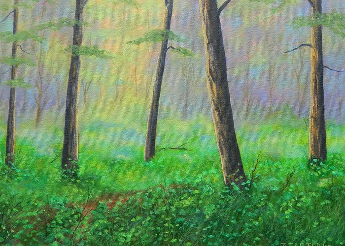 Forest.summer Greeting Card featuring the painting Emerald Forest Carter by John Carter