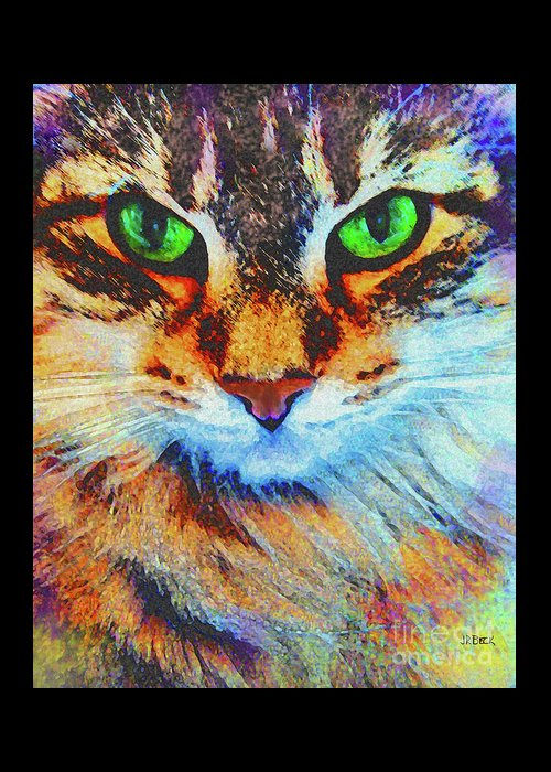 Emerald Gaze Greeting Card featuring the digital art Emerald Gaze by John Beck