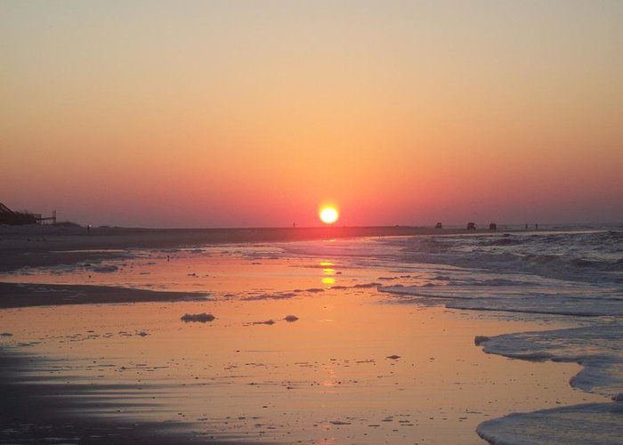 Sunrise Greeting Card featuring the photograph Emerald Isle Sunrise by Jared Hester