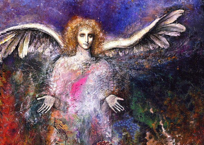 Angel Greeting Card featuring the painting Emergence by Marne Adler