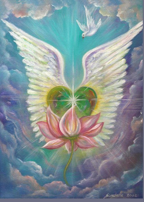 Heart Greeting Card featuring the painting Emerging Love Opening Heart by Sundara Fawn
