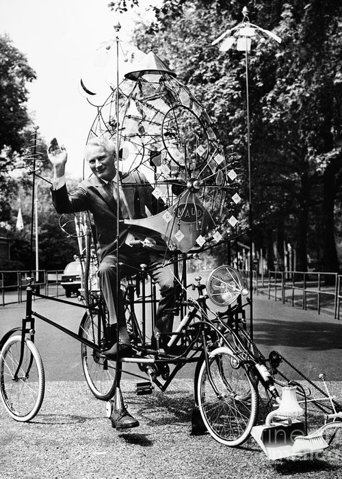 1970 Greeting Card featuring the photograph Emett: Lunacycle, 1970 by Granger