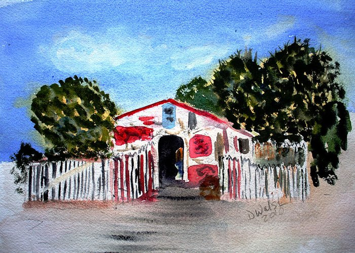Tropical Greeting Card featuring the painting Emiles Road Side Grocer by Donna Walsh