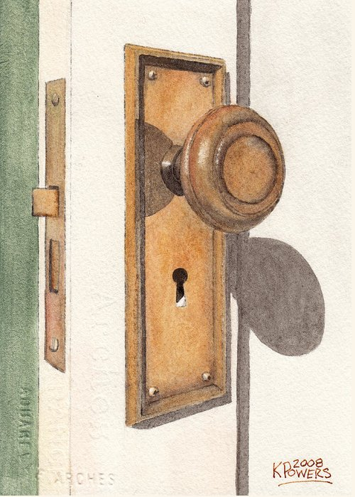 Door Greeting Card featuring the painting Emily's Door Knob by Ken Powers