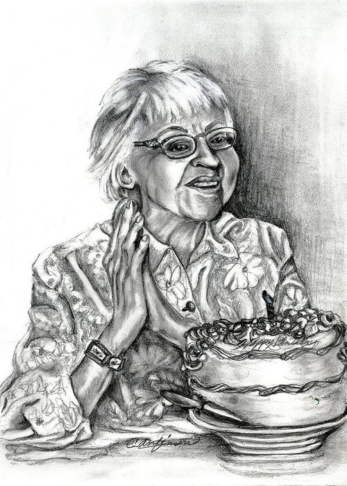 Old Woman Greeting Card featuring the drawing Emma by Carol Allen Anfinsen