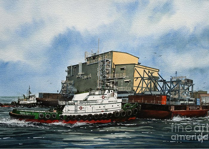 Tugs Greeting Card featuring the painting Emma Foss Barge Assist by James Williamson