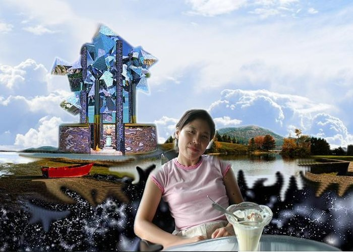 Spacem Maine Greeting Card featuring the digital art Emma's Afternoon Snack by Dave Martsolf