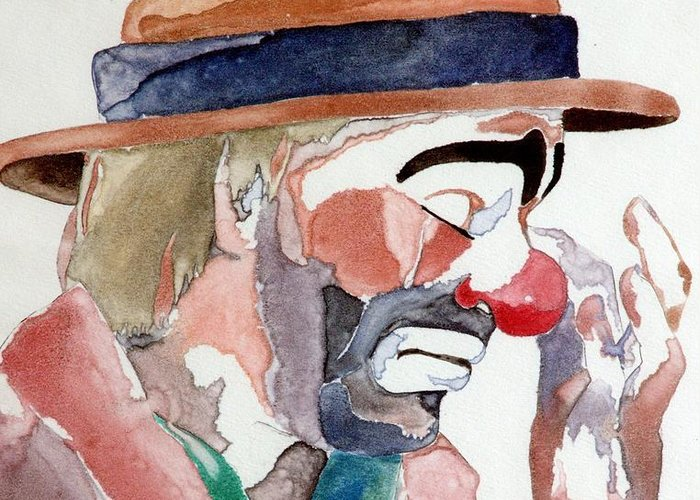Emmett Kelly Greeting Card featuring the painting Emmett Kelly by Donna Baruchi
