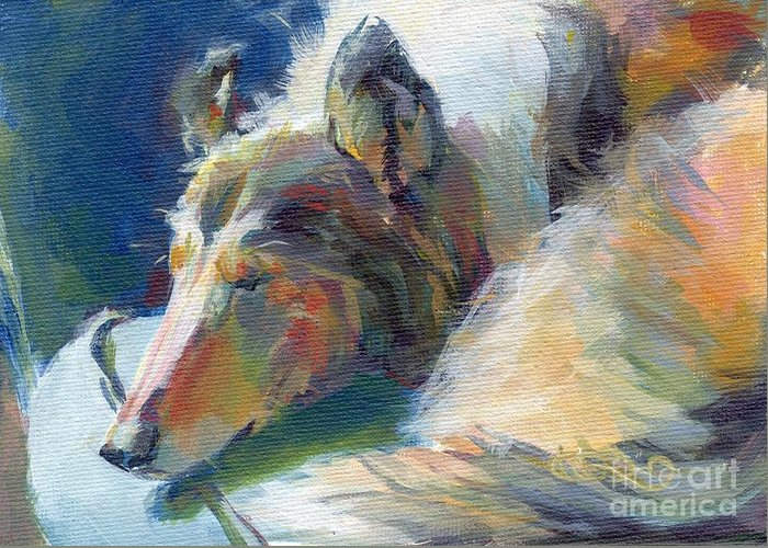 Collie Greeting Card featuring the painting Emmies Beauty Sleep by Kimberly Santini