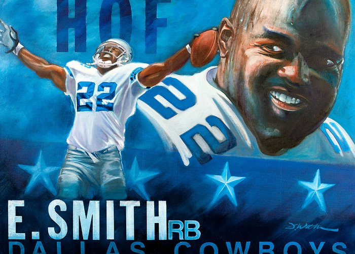Emmit Smith Greeting Card featuring the painting Emmit Smith Hof by Jim Wetherington