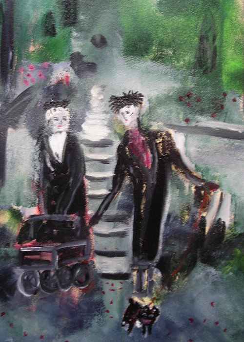 Emo Greeting Card featuring the painting Emo Goth Park Walk by R Bruce Macdonald