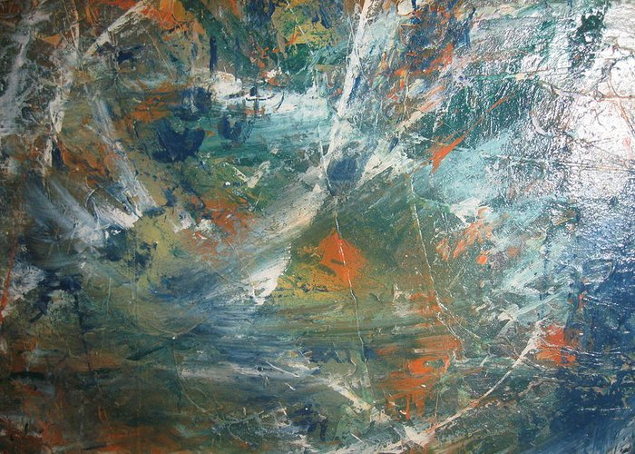 Non Duality Greeting Card featuring the painting Emotional Deluge by Paula Andrea Pyle