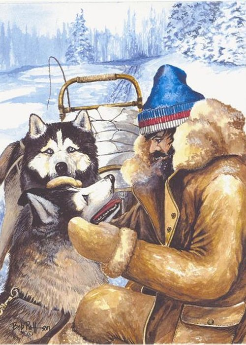 Musher Greeting Card featuring the painting Empathy by Bob Patterson