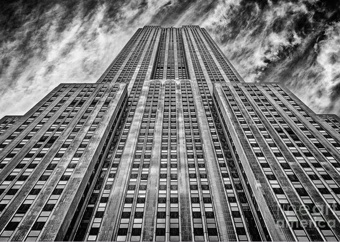 Crazy Nyc Greeting Card featuring the photograph Empire State Building Black And White by John Farnan