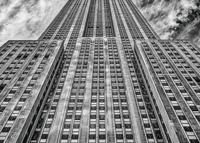 Crazy Nyc Greeting Card featuring the photograph Empire State Building Black And White Square Format by John Farnan