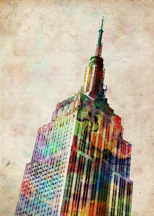 Empire State Building Greeting Card featuring the digital art Empire State Building by Michael Tompsett