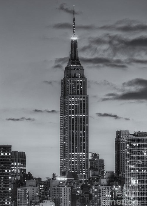 Clarence Holmes Greeting Card featuring the photograph Empire State Building Morning Twilight Iv by Clarence Holmes