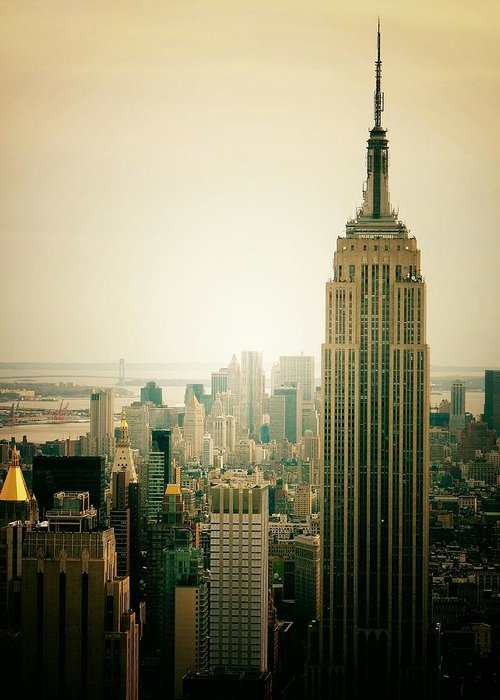 New York City Greeting Card featuring the photograph Empire State Building New York Cityscape by Vivienne Gucwa