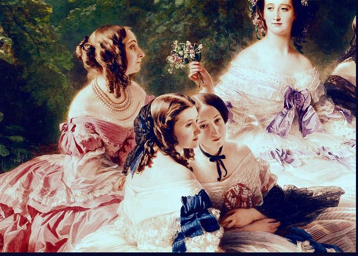 Empress Greeting Card featuring the painting Empress Eugenie And Her Ladies In Waiting by Franz Xaver Winterhalter