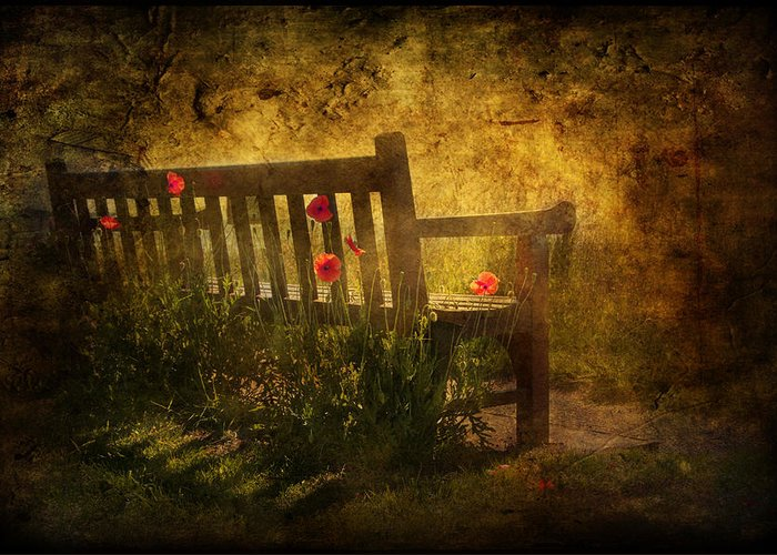 Background Greeting Card featuring the digital art Empty Bench And Poppies by Svetlana Sewell