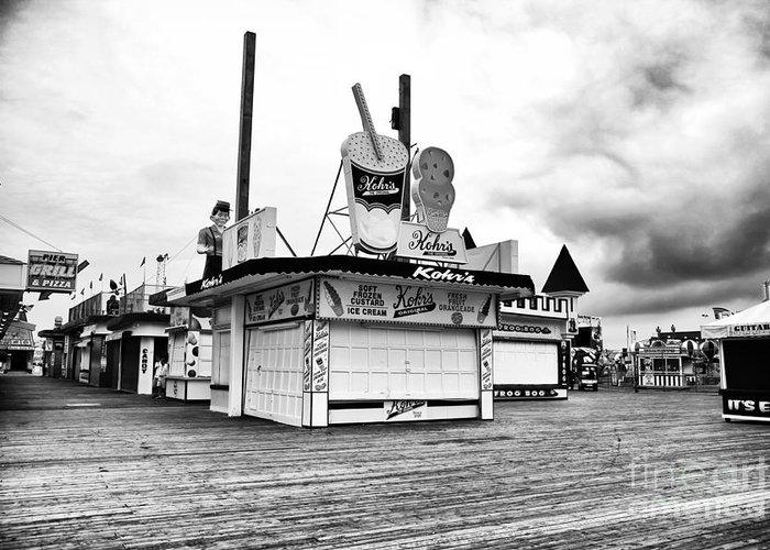 Empty Boardwalk Greeting Card featuring the photograph Empty Boardwalk by John Rizzuto
