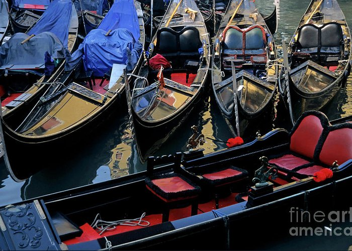Absence Greeting Card featuring the photograph Empty Gondolas Floating On Narrow Canal In Venice by Sami Sarkis