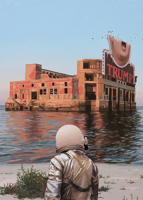Astronaut Greeting Card featuring the painting Empty Palace by Scott Listfield