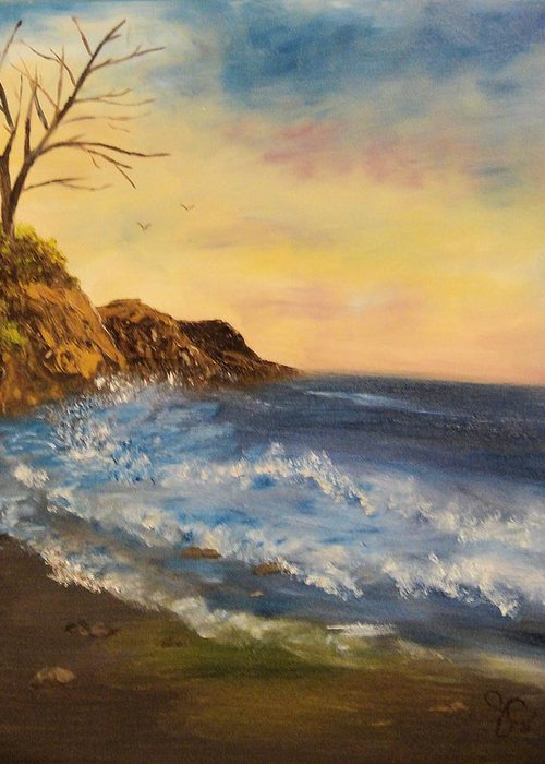 Seascape Greeting Card featuring the painting Empty Shore by Shiana Canatella