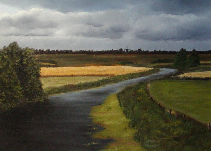 Original Landscape In Oil Greeting Card featuring the painting Emsland Germany by Sharon Steinhaus