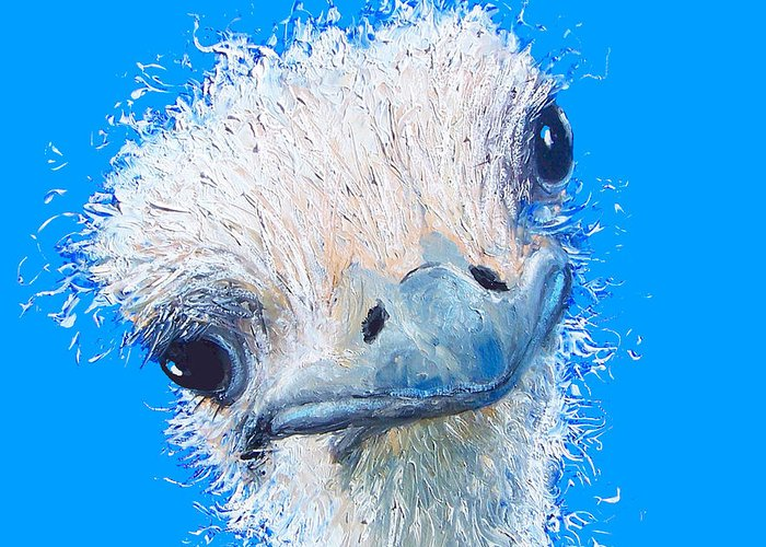 Emu Greeting Card featuring the painting Emu Painting by Jan Matson
