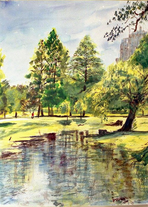 Watercolor Greeting Card featuring the painting En El Parque A Mediodia by Horacio Prada