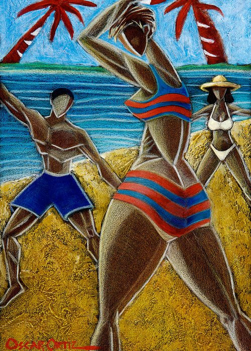 Beach Greeting Card featuring the painting En Luquillo Se Goza by Oscar Ortiz