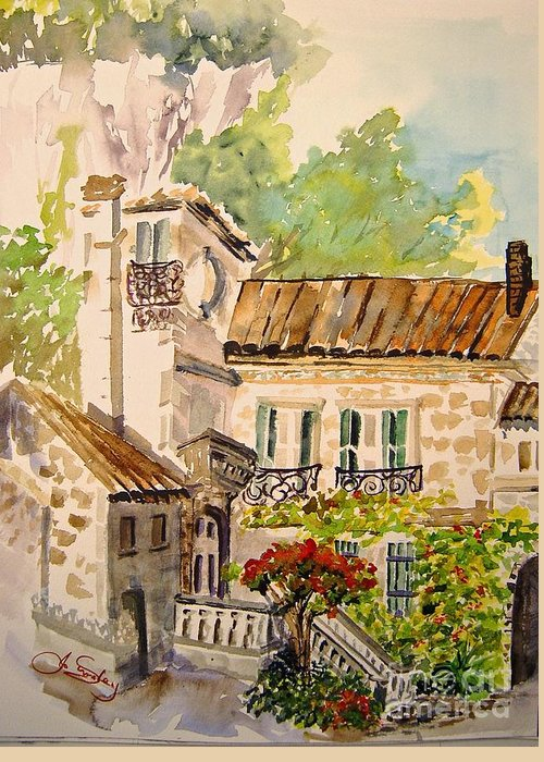 France Greeting Card featuring the painting En Plein Air At Moulin De La Roque France by Joanne Smoley