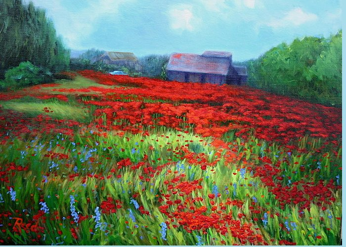 Landscape Greeting Card featuring the painting en route to Arles by Patricia Reed