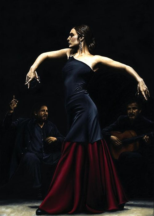 Performance Greeting Card featuring the painting Encantado Por Flamenco by Richard Young
