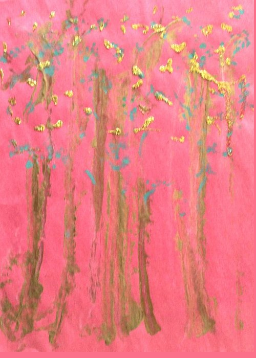 Abstract Greeting Card featuring the painting Enchanted Forest - Abstraction by Michela Akers