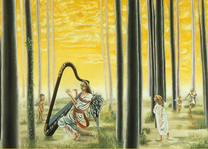 Landscape Greeting Card featuring the painting Enchanted Forest by Gloria Cigolini-DePietro