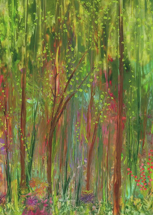 Enchanted Forest Greeting Card featuring the painting Enchanted Forest by Lisa Grogan