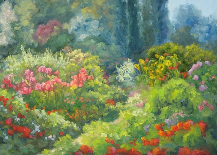 Landscape Greeting Card featuring the painting Enchanted Garden by Bunny Oliver